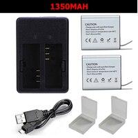 New 1350mAh Eken H9r Battery And Dual Battery Charger For SJCAM SJ4000 SJ5000 Eken H9r H9