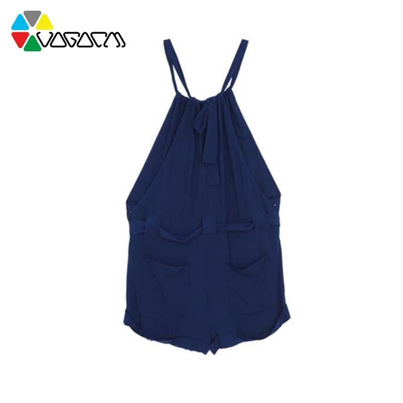 Women Summer Halter Neck Sleeveless Shorts Royal Blue Casual Loose Rompers Plus Size Tunic Short Jumpsuit Beach Party in Rompers from Women 39 s Clothing