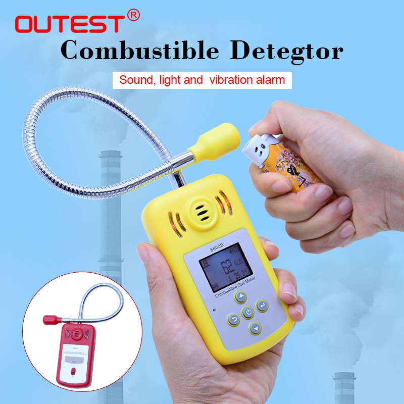 OUTEST LCD gas analyzer Combustible gas detector Portable gas Leak Detector, long probe air quality monitor Sound Light Alarm official ms6310 high accuracy combustible gas leak detector analyzer meter with sound light alarm analizador de gases