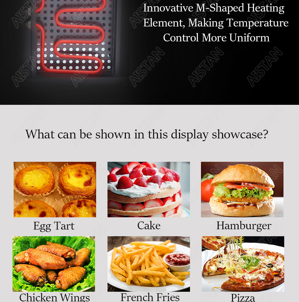 DH1P Commercial Countertop Electric Stainless Steel snack bread pizza Food Warmer Display Showcase 11