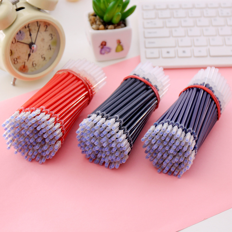 100pcs/lot free red blue black ink gel pen refill 0.5 mm  bullet students office supplies for core