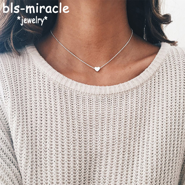 Bls-miracle Vintage Chokers Necklaces Fashion Copper Heart Pendant Necklace Stat