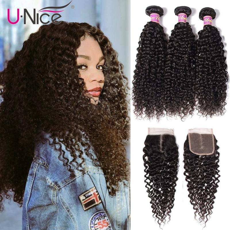 UNice Hair Icenu Remy Hair Series Malaysian Curly Hair Bundles with Closure Human Hair Extension 4PCS