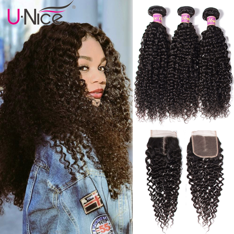 UNice Hair Icenu Remy Hair Series Malaysian Curly Hair Bundles With Closure Human Hair Extension 4PCS Lace Closure With Bundles