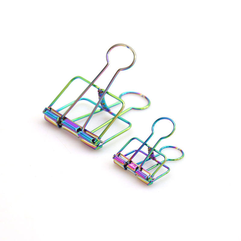TUTU Novelty Rainbow Coloful Metal Solid Color Hollow Out Metal Binder Clips Notes Letter Paper Clip Office Supplies FOD H0153