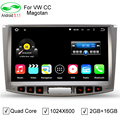 "Silver Panel 4 Core 2GB/16GB HD 10.1"" 1024*600 Android 5.1Car DVD Multimedia Player For Volkswagen VW CC Magotan Passat B6 B7"