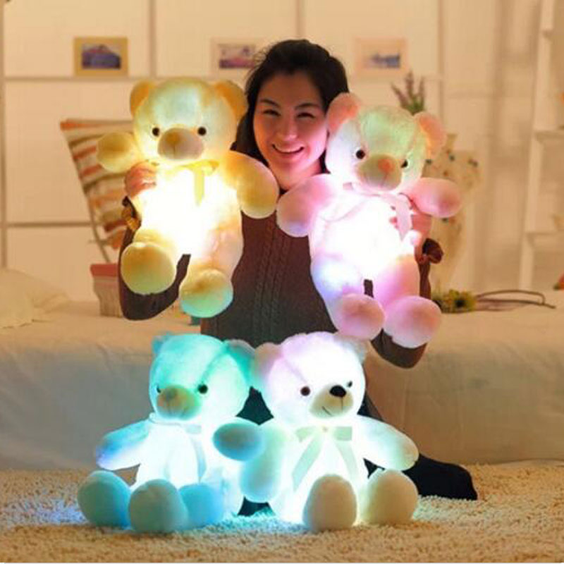 75CM Colorful LED Flash Luminous With Music Bear Stuffed Plush Toy Bear Pillow LED Light Doll Toys For Girlfriend Children Gift large cute new cartoon animals bear panda doll bear hug colorful led flashing light led plush toy for kids children gift