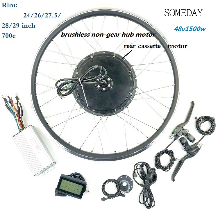 Electic Bicycle Conversion Kit 48V1500W Rear Cassette Brushless Non-gear Hub Motor Ebike With LCD3 Diplay