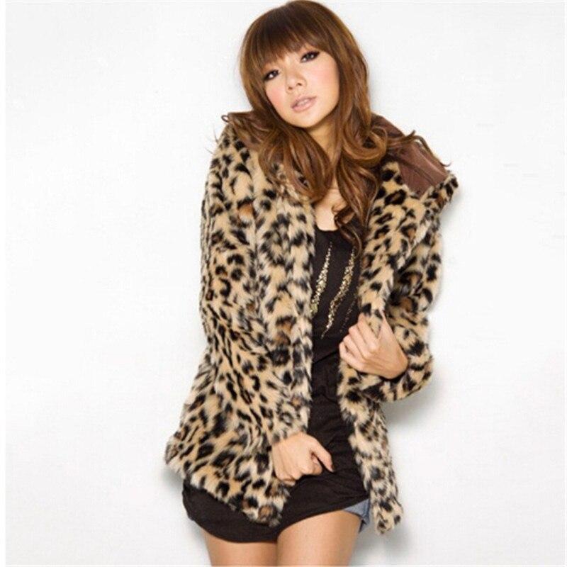 Femmes Fausse Leopard Chaud Lady À Léopard Survêtement Manteau Veste Faux Capuche D'hiver Fourrure De vffFawxdq