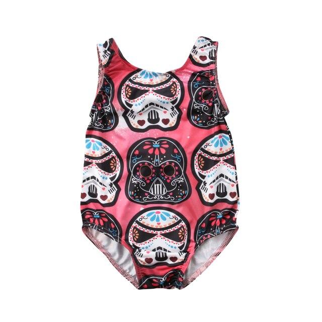 Cute Newborn Baby Sugar Skull Storm Troopers Darth Vader Sugar Skull Star Wars Backless Baby Bodysuit Baby Jumpsuit
