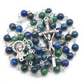 Free shipping green color stone bead special catholic rosary necklace
