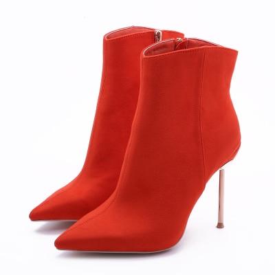 ФОТО 2017 Women Boots Winter Shoes Women High Heels Boots Women Brand Winter Boots With Fur Pointed Toe Metal Heel Boots B-02230
