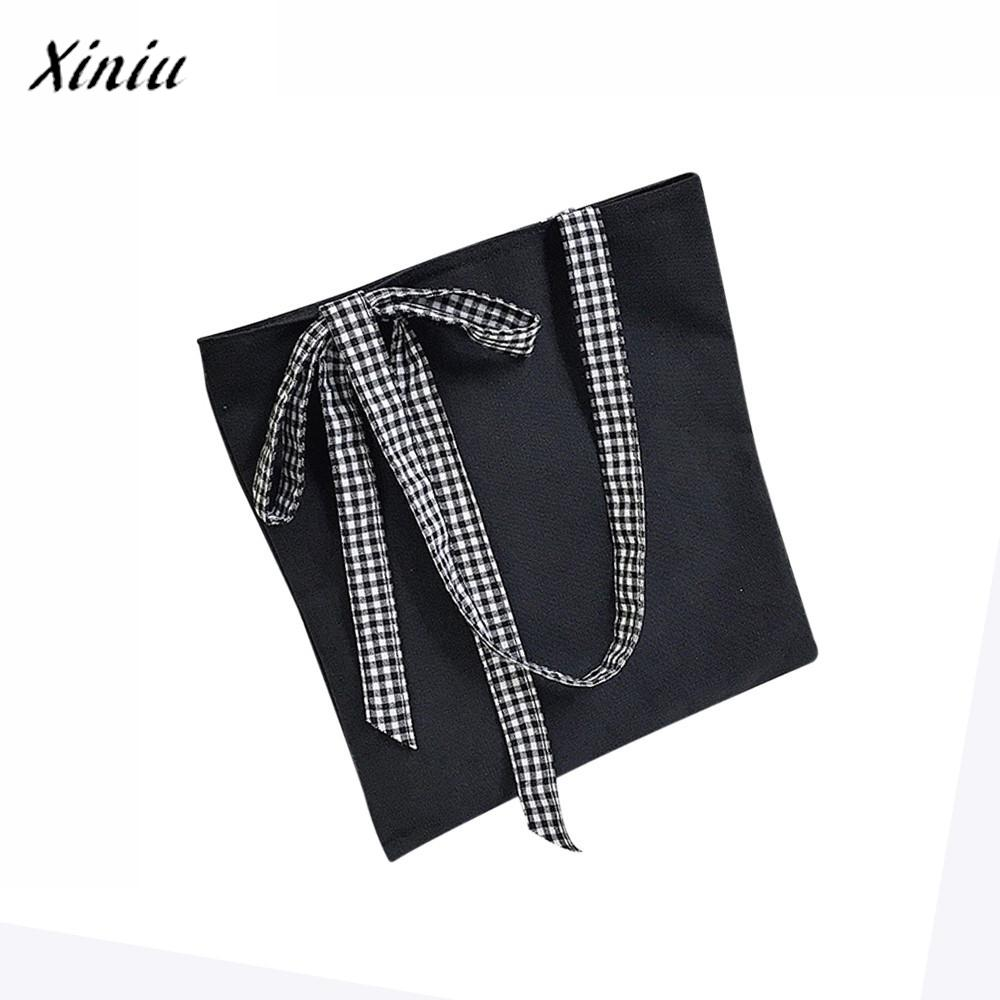 Brand New Women's Handbags Clutch 2018 Casual Bow Tie Canvas Tote Female Single Shoulder Messenger Bags Bolsas Feminina