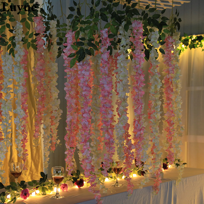Large Size 140cm and 110cm Wedding Decoration Artificial flower flowers Wisteria Flower  vines for  Bridal Bedroom Hotel PartyLarge Size 140cm and 110cm Wedding Decoration Artificial flower flowers Wisteria Flower  vines for  Bridal Bedroom Hotel Party