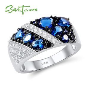 Женское серебряное кольцо SANTUZZA, модное круглое кольцо из стерлингового серебра 925 пробы с кубическим цирконием 2017, ювелирные изделия для ве...