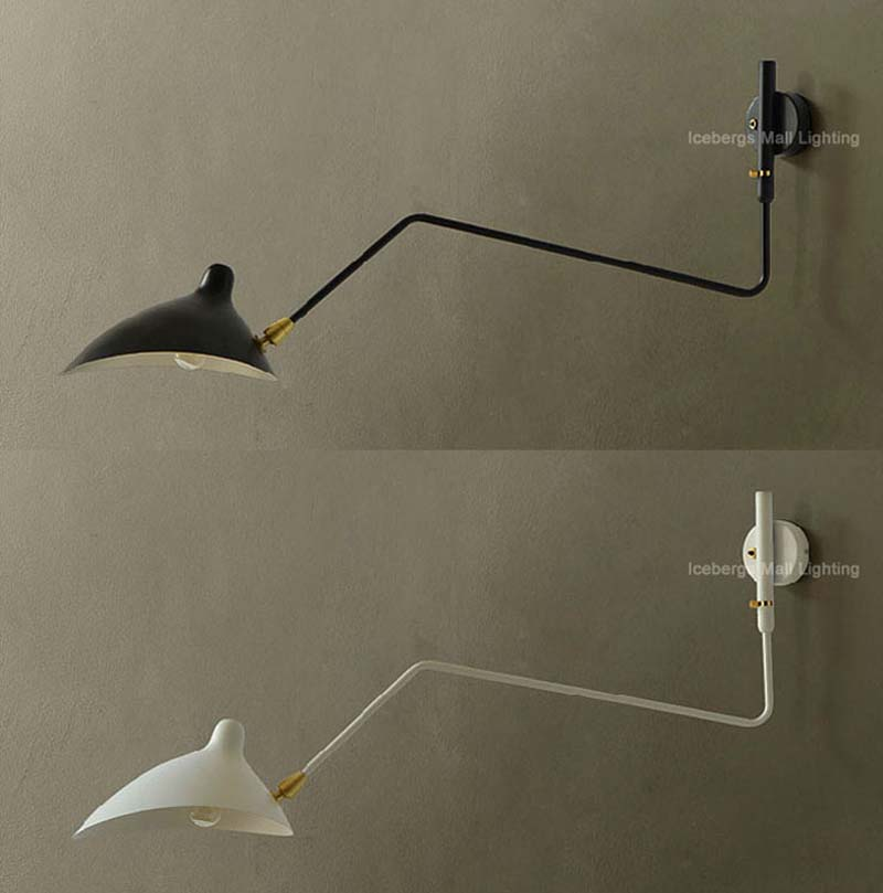 Replica Designer Serge Wall Lamp Lighting One Arm Rotating Wall Light Iron  Lampshade Arandela De Parede