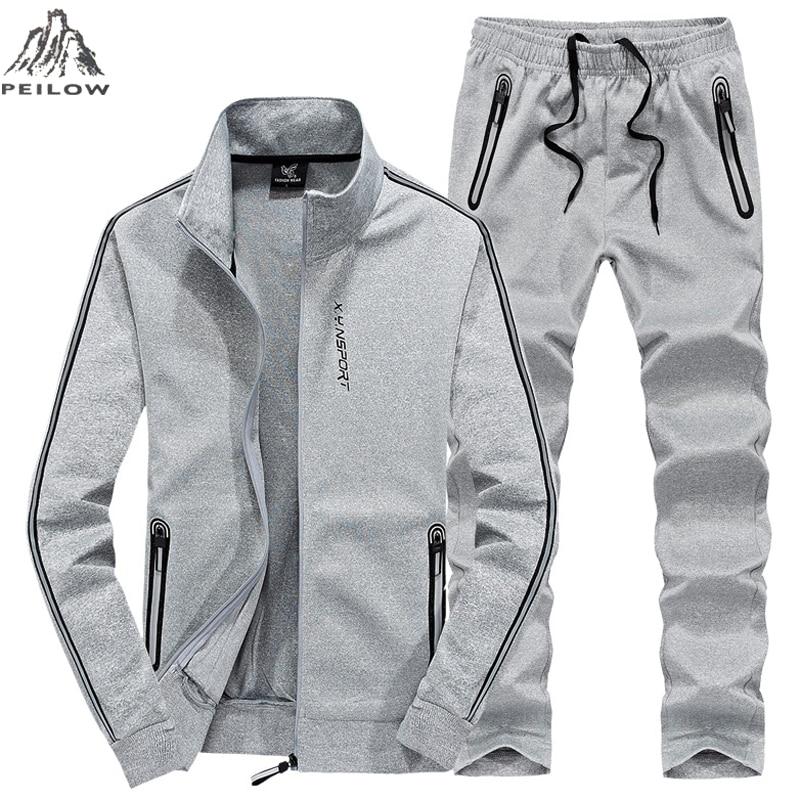 PEILOW Plus Size L~7XL 8XL Winter Jacket Men Outwear Hoodies Sweatshirt Tracksuit Men`s Sportswear Jogger Male Set Jacket+pant
