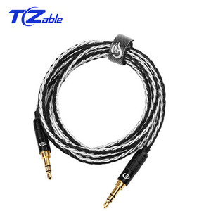 Image 2 - 3.5 mm Jack Audio Cable Male to Male Aux Cable Gold Plated 3.5mm Plug Pure Copper Silver Plated Wire 0.5M 1.2M HIFI Speaker Line