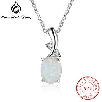 1c2bfc544ff6 Elegante Plata de Ley 925 colgante collares mujeres Oval White Opal collares  con Zircon aniversario de