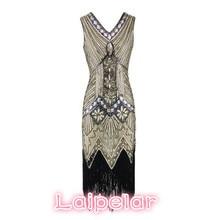 1920s Great Gatsby Dress Sequin Beading V Neck Tassel Flapper Robe Vintage Black Party Long Summer Women Vestidos