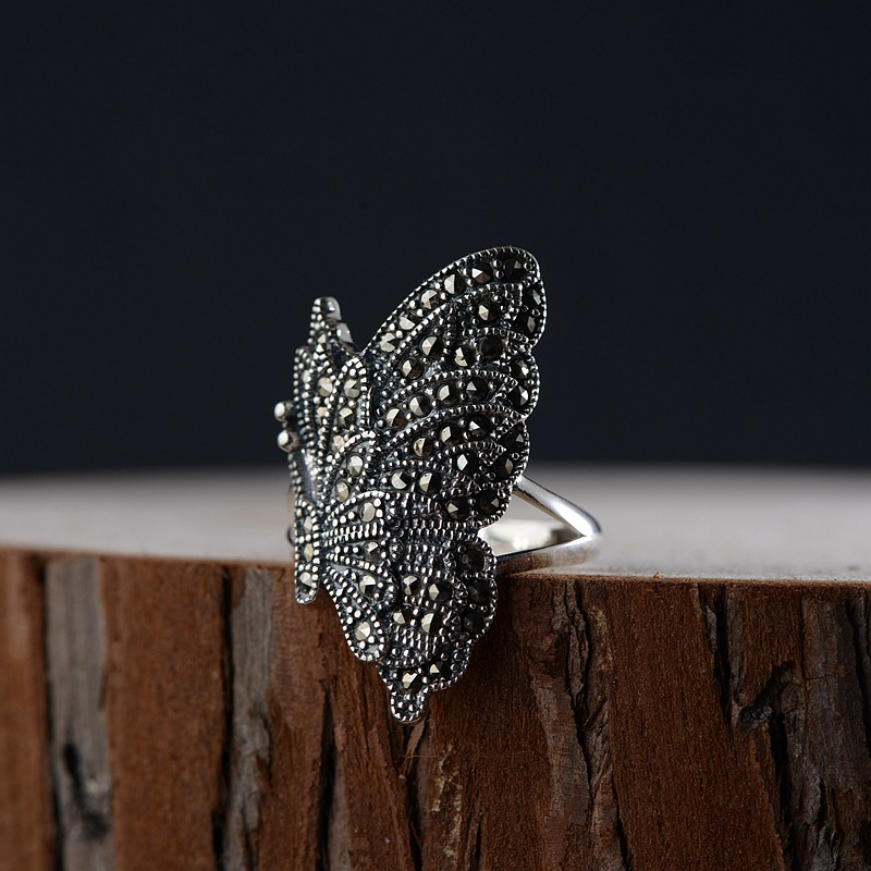 FNJ 925 Silver Butterfly Ring MARCASITE New Fashion S925 Sterling Silver Rings for Women Jewelry Adjustable Size 7 vintage rivet hollowed butterfly ring for women page 7