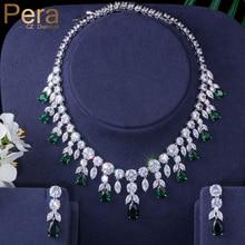 Pera Luxury Sparking Brilliant Cubic Zircon Drop Earring Necklace Heavy Dinner Jewelry Set Wedding Bridal Dress Accessories J143