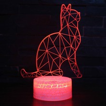 3D Visual Cat Night Light Animal LED 7 Colors Changeable Mood Lamp USB Illusion Table For Home Decorative As Kids Toy Gift