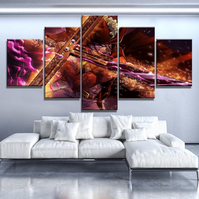 Home Decoration Prints Painting Pictures 5 Panel One Piece Anime Wall Artwork Modular Modern Canvas Poster Living Room Frame