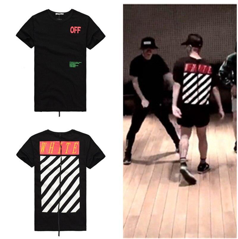 KPOP Bigbang G-DRAGON T-Shirt Big Bang GD Mens Womens OFF-WHITE Striped Tee  Tshirt Tops 3a55993bf1