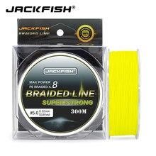 Jackfish 300m 8 strand super forte pe trançado linha de pesca 10-80lb multifilament pesca carpa pesca de água salgada