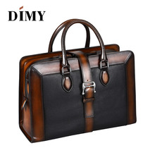 DIMY Italian Cow Leather Handbags Designer Business Briefcases For Men Shoulder Bags Large Capacity Vintage Patchwork Zipper Bag
