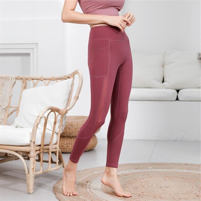 Oyoo High quality side mesh sport leggings red tummy control yoga pants with  pocket black gym pants women jogging femme tights 03f273e16bd