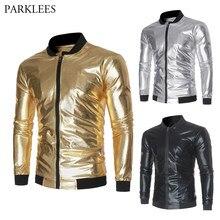 Shiny Gold Metallic Paisley Floral Print Baseball Varsity Jacket Men 2019  Nightclub Party Mens Jackets and Coats Tin Man Costume 33d2ca4f3143
