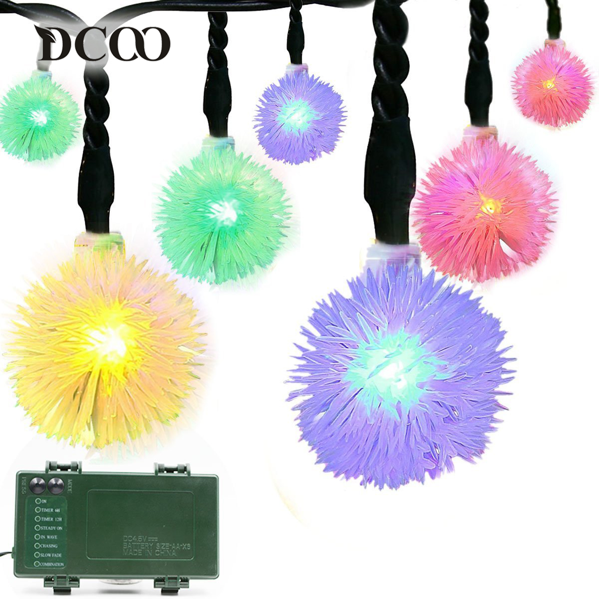 Dcoo Battery Led String Lights 50leds Chuzzle Ball Operated Automatic Christmas Outdoor Lighting Fairy Lights Wedding