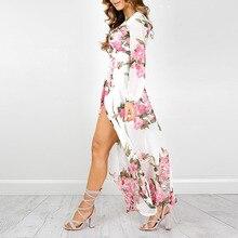 Maxi Dress Women 2017 Timechee New Summer Boho Sexy V-Neck Print Empire Split Loose Long Dresses Vestidos LYY0137