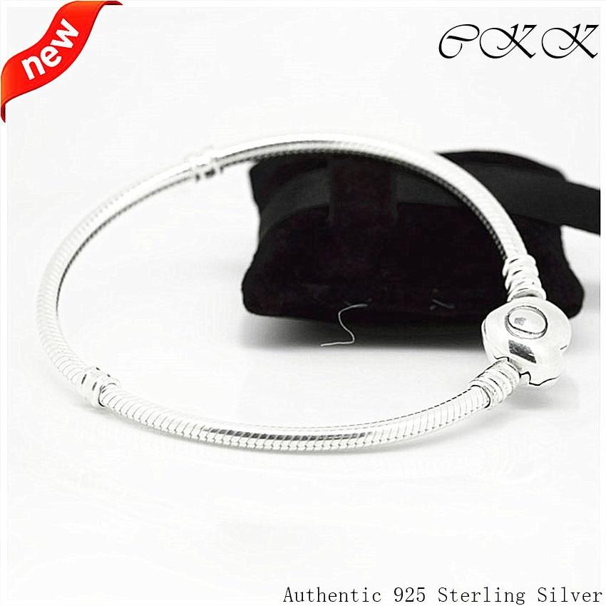 Heart Bracelet 100 925 Sterling Silver Jewelry Snake Bracelets for Women Fit Charms Beads DIY FB011