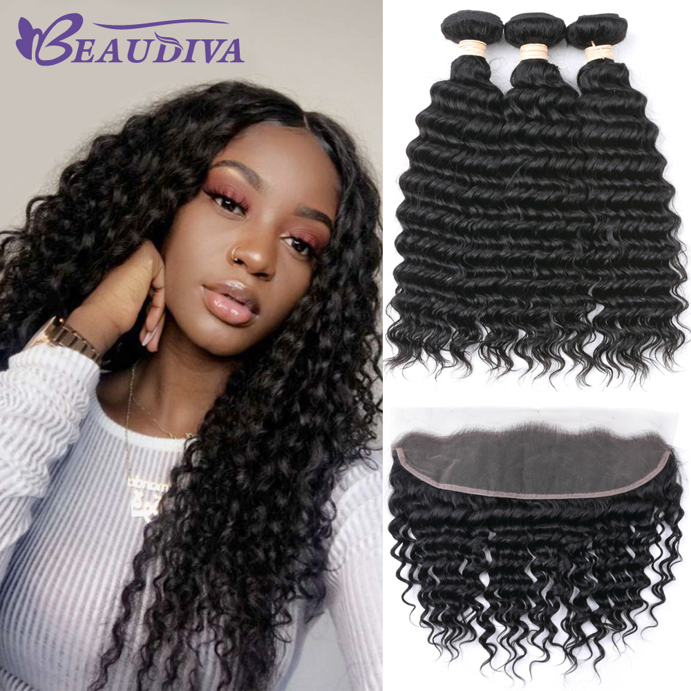 Beaudiva Brazilian Deep Wave Bundles With Frontal Human Hair Bundles With Closure Remy Lace Frontal Closure