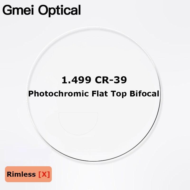 1 499 CR 39 Photochromic Flat Top Bifocal Prescription Glasses Optical Lenses Round Top Bifocal Optical