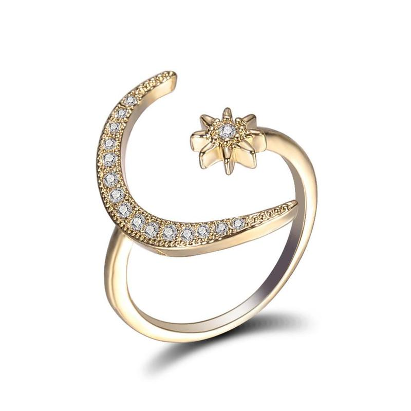 Fashion Moon and Star Rings Women Wedding Jewelry Open Adjustable Ring Rings For Women in Rings from Jewelry Accessories