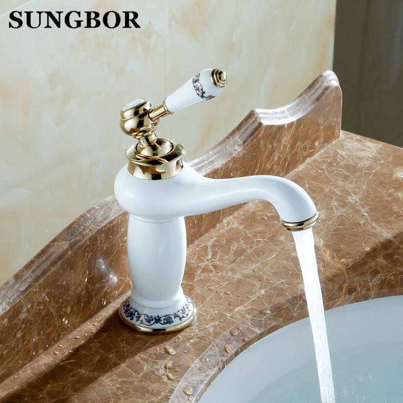 Europe Luxury Pastoral Basin Mixer Taps Grilled White Paint Copper Gold Plated Faucets Bathroom