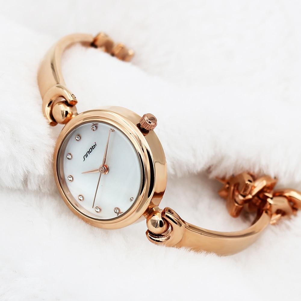 SINOBI Fashion Women Golden Bracelet Watches Top Luxury Brand Watches Women Females Geneva Quartz Clock Ladies