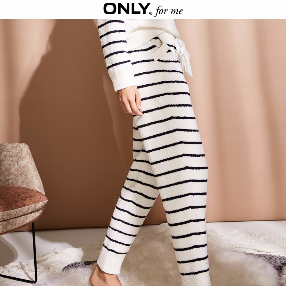 ONLY  Women's Silk Ribbon Fleece Casual Pajama Pants |11847V501