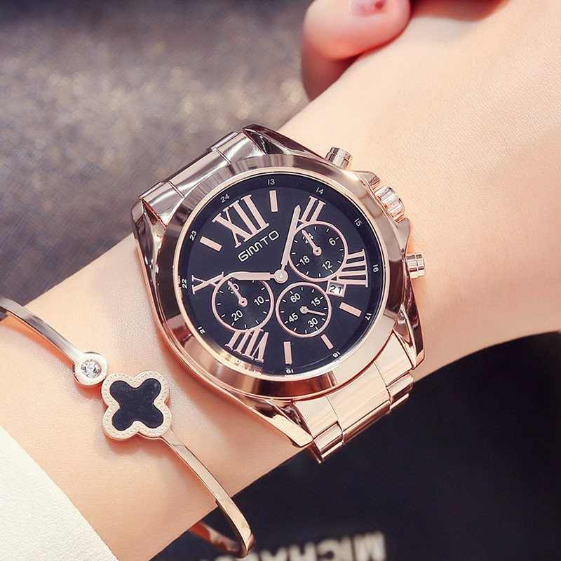 GIMTO Роскошные женское платье часы римская цифра розовое золото черный  уникальный повседневное женские наручные часы водонепроница 2d4caff8e91