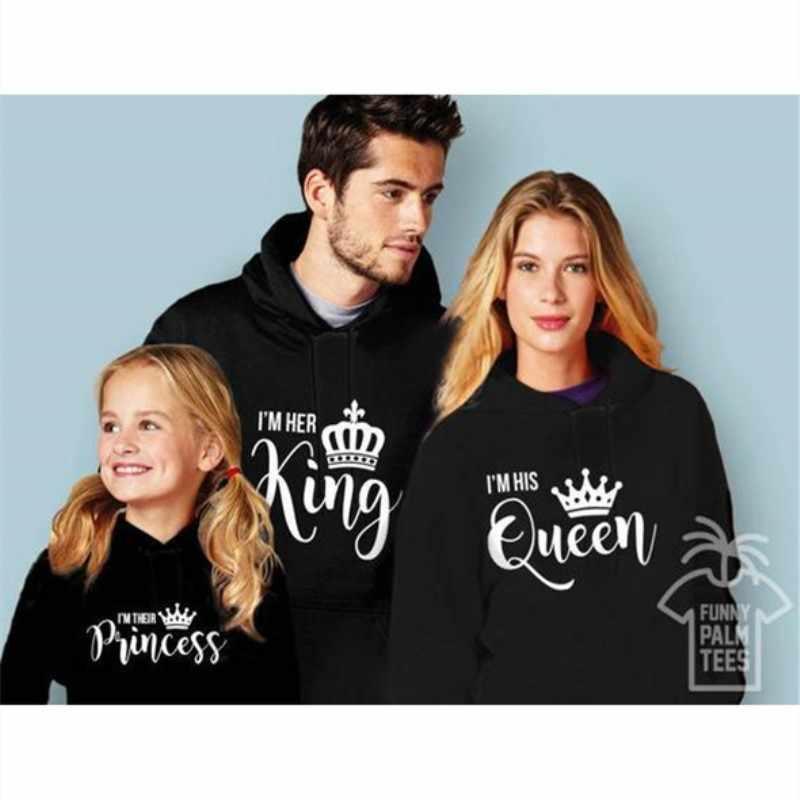 3e3fd0e065f0 Одинаковые комплекты для семьи вид отец мать дочь король, королева  принцесса на толстовке мама и