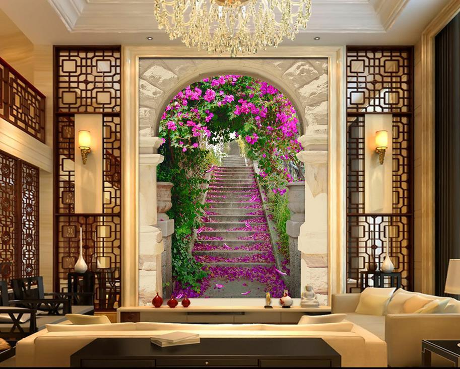 custom d mural papel pintado de estilo europeo puerta de entrada escaleras cereza d murales de