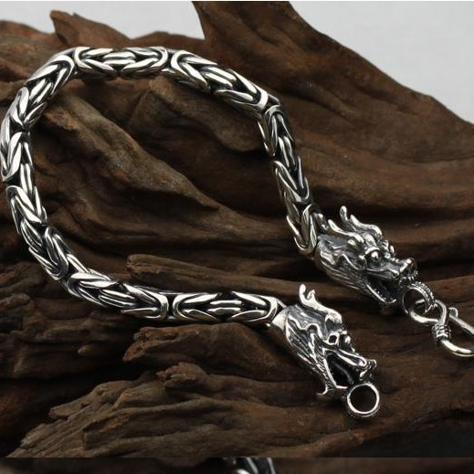 MM Handmade Thailand Siilver Dragon Bracelet Lucky Bracelet for Men
