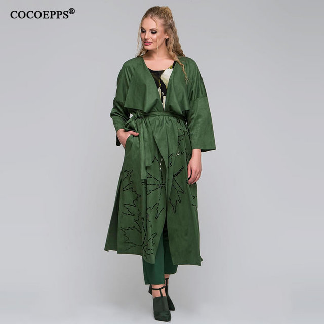 ae1ed21c686 New Autumn Winter Plus size Long trench Coat Women Suede Belt Jacket Coats  Big size Overcoat Elegant 2018 Women Outerwear XL-6XL