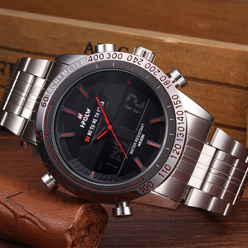 Luxury Brand Men Full Steel Analog Digital Sports Watches Army Military Quartz Watch Luminous Clock Relogio Masculino