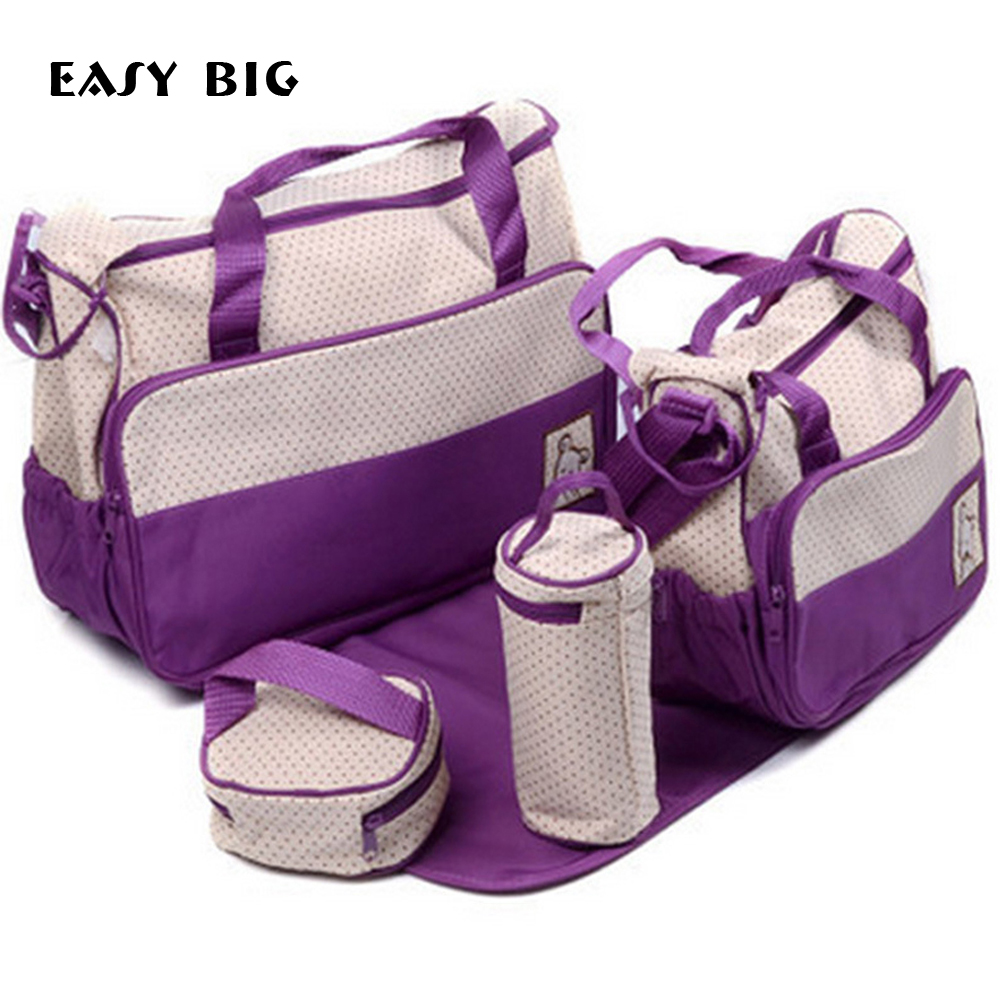 EASY BIG 7 Colors 5PCS/Set High Quality Tote Baby Shoulder Diaper Bags Durable Nappy Bag Mummy Mother Baby Bag BCS0003 mummy bags big size mother