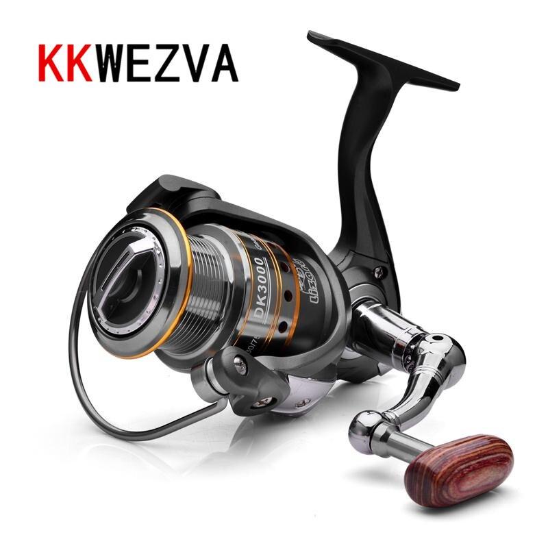 Купить с кэшбэком KKWEZVA Metal Shallow cup 1000/2000/3000 Spinning Fishing Reel 5.2:1 Hi-Speed Full Metal Spinning Wheel + Metal Rocker